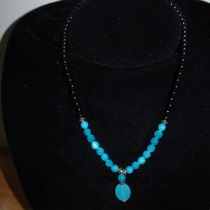 SS 925 Faceted Glass Beaded Pendant Necklace